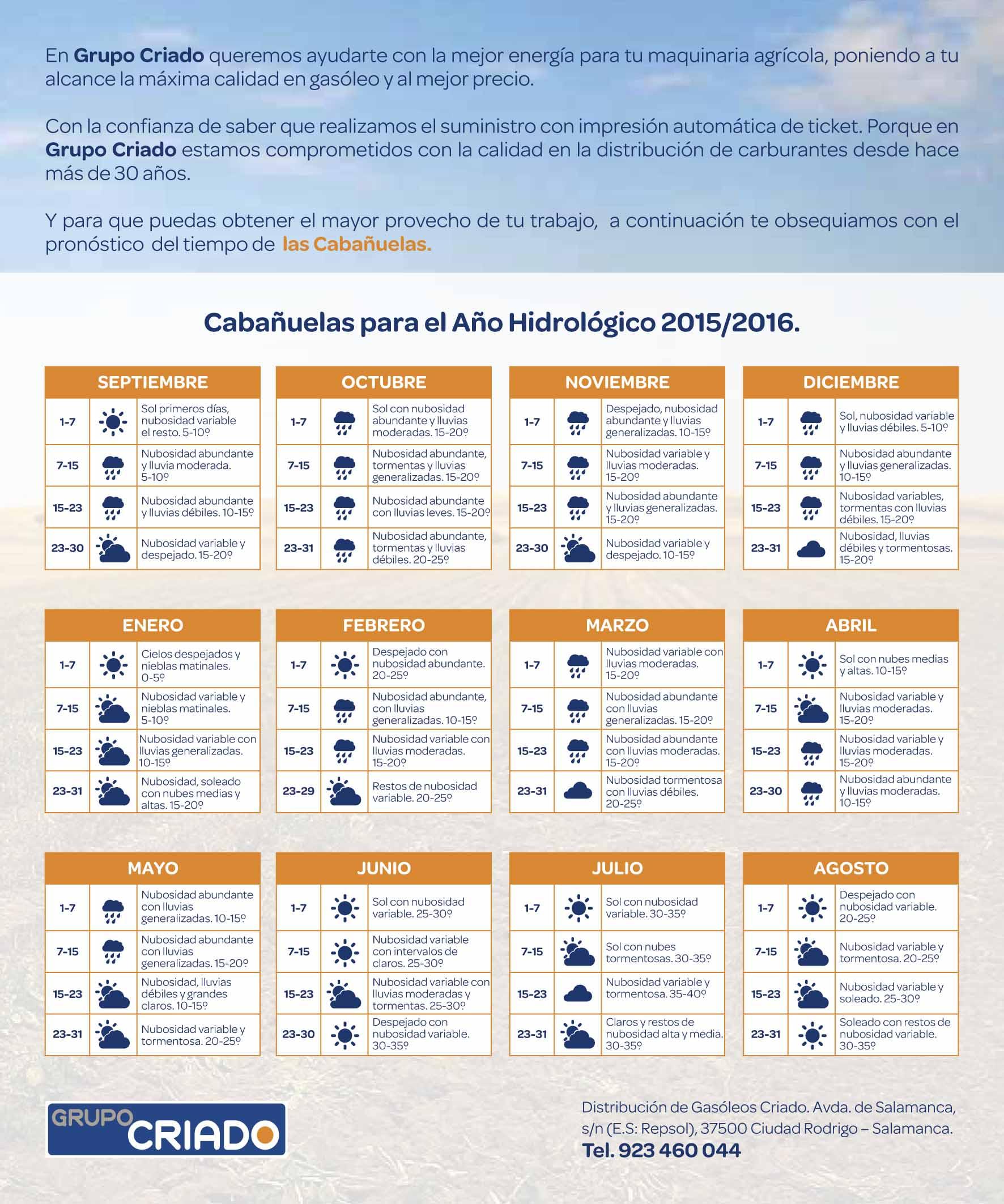 Calendario Cabanuelas.Gasoleos Agricola Criado Calendario Cabanuelas 2015 2016